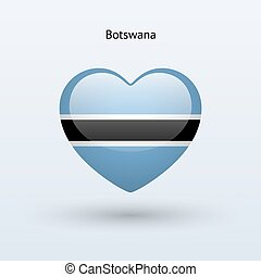 Love Botswana symbol Heart flag icon Vector illustration
