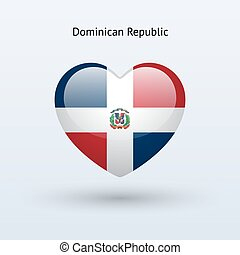 Love Dominican Republic symbol Heart flag icon Vector...