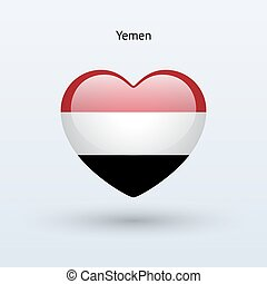 Love Yemen symbol Heart flag icon Vector illustration