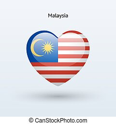 Love Malaysia symbol Heart flag icon Vector illustration