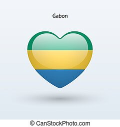 Love Gabon symbol. Heart flag icon. Vector illustration.
