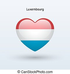 Love Luxembourg symbol Heart flag icon Vector illustration...