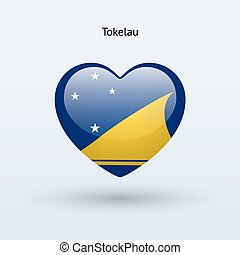Love Tokelau symbol Heart flag icon Vector illustration