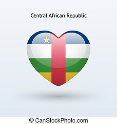 Love Central African Republic symbol Heart flag icon Vector...
