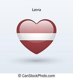 Love Latvia symbol Heart flag icon Vector illustration
