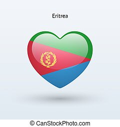 Love Eritrea symbol. Heart flag icon. Vector illustration.