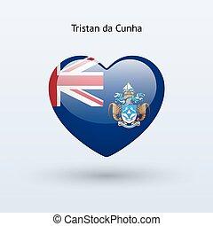 Love Tristan da Cunha symbol. Heart flag icon. Vector...
