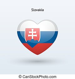 Love Slovakia symbol. Heart flag icon.