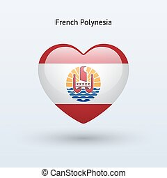 Love French Polynesia symbol. Heart flag icon. Vector...