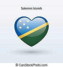 Love Solomon Islands symbol. Heart flag icon. Vector...
