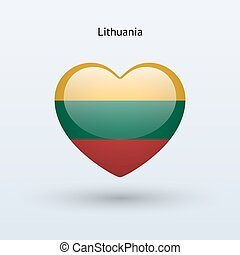 Love Lithuania symbol. Heart flag icon. Vector illustration.