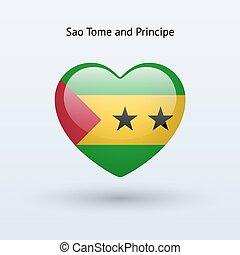 Love Sao Tome and Principe symbol Heart flag icon Vector...