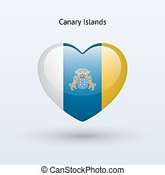 Love Canary Islands symbol. Heart flag icon. Vector...