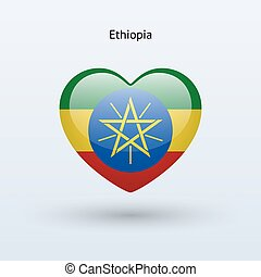 Love Ethiopia symbol Heart flag icon Vector illustration