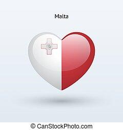 Love Malta symbol. Heart flag icon.