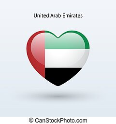 Love United Arab Emirates symbol Heart flag icon Vector...