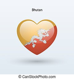 Love Bhutan symbol Heart flag icon Vector illustration