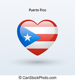 Love Puerto Rico symbol Heart flag icon Vector illustration...