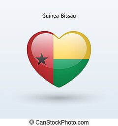 Love Guinea-Bissau symbol Heart flag icon Vector...