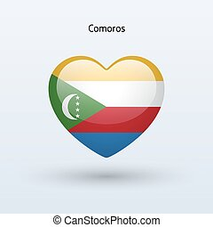 Love Comoros symbol. Heart flag icon. Vector illustration.