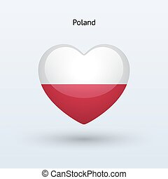 Love Poland symbol. Heart flag icon.