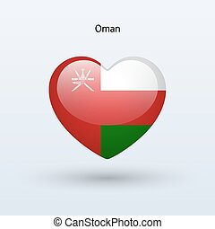 Love Oman symbol Heart flag icon Vector illustration