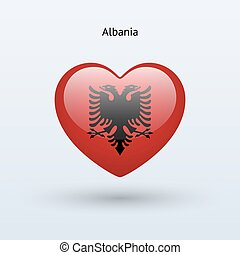 Love Albania symbol Heart flag icon Vector illustration