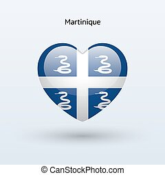 Love Martinique symbol Heart flag icon Vector illustration...