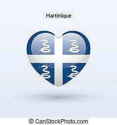 Love Martinique symbol. Heart flag icon. Vector...