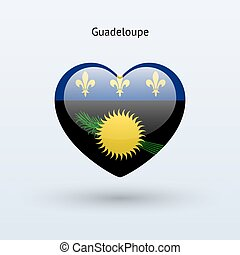 Love Guadeloupe symbol. Heart flag icon. Vector...