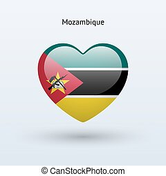 Love Mozambique symbol Heart flag icon Vector illustration...