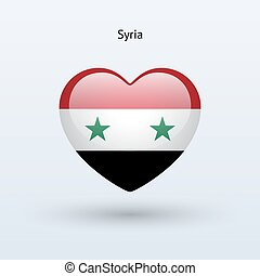 Love Syria symbol Heart flag icon Vector illustration