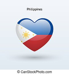 Love Philippines symbol. Heart flag icon. Vector...