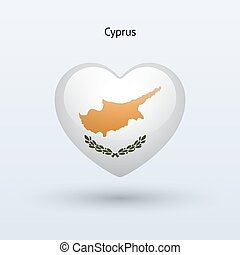 Love Cyprus symbol Heart flag icon Vector illustration