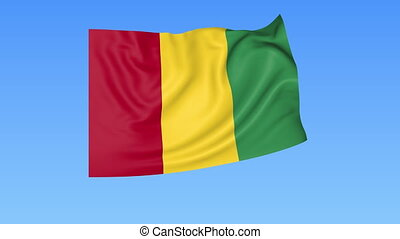 Waving flag of Guinea, seamless loop. Exact size, blue...