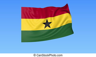 Waving flag of Ghana, seamless loop. Exact size, blue...