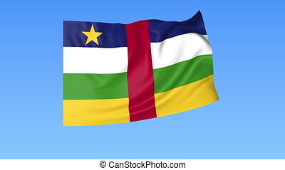 Waving flag of Central African Republic, seamless loop. Exact size, blue background. Part of all countries set 4K ProRes