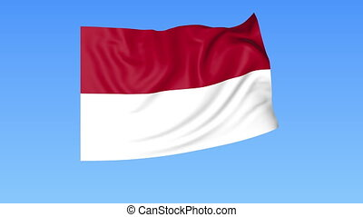 Waving flag of Indonesia, seamless loop. Exact size, blue background. Part of all countries set. 4K ProRes with alpha.