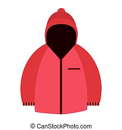 winter jacket icon - flat design pink hodded winter jacket...