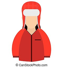 winter jacket icon - caucasian wearing red winter jacket and...