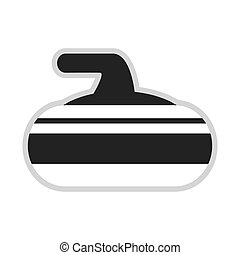 curling stone icon - flat design grey and white curling...
