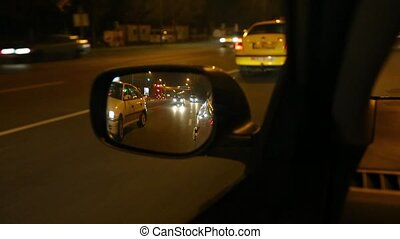 Driving a car at night - Driving in the town at night