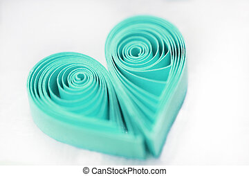 Quilling handmade heart. Made of paper heart in quilling...