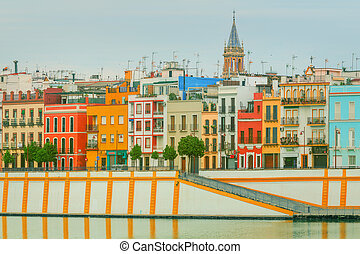 Seville panoramic cityscape with historical buildings,...
