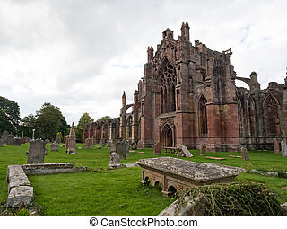Melrose Abbey, Scotland - The ruins of pink colored Melrose...