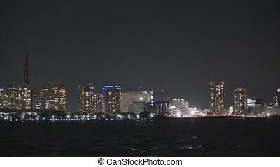 Yokohama Minato Mirai - Viewing factories at night from a...