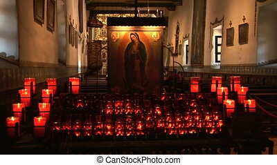 Church and Prayer Candles - Serra Chapel in San Juan...