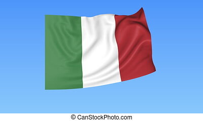Waving flag of Italy, seamless loop. Exact size, blue background. Part of all countries set. 4K ProRes with alpha.