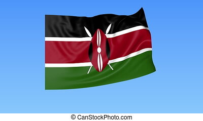 Waving flag of Kenya, seamless loop. Exact size, blue...