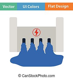 Hydro power station icon Flat color design Vector...